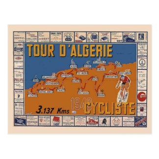 Cartão Postal Mapa do vintage, raça 1949 do ciclo de Argélia