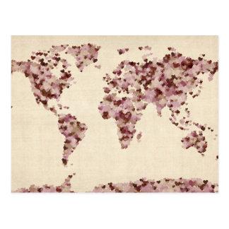 Cartão Postal Mapa dos corações do amor do mapa do mundo