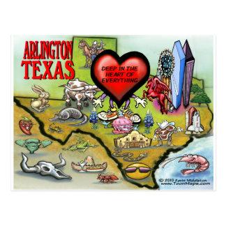 Cartão Postal Mapa dos desenhos animados de Arlington Texas