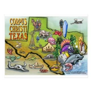 Cartão Postal Mapa dos desenhos animados de Corpus Christi Tx