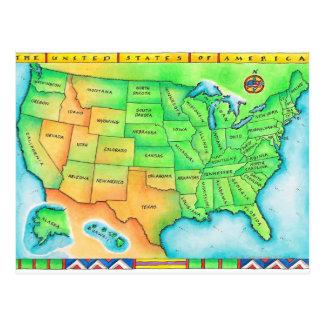Cartão Postal Mapa dos EUA