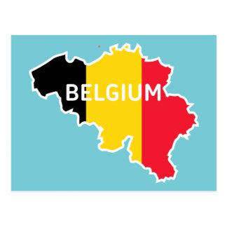Cartão Postal Mapa e bandeira de Bélgica