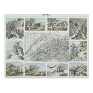 Cartão Postal Mapa e vinhetas de cumes suíços