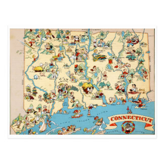 Cartão Postal Mapa engraçado do vintage de Connecticut