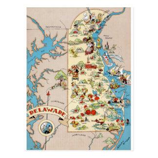 Cartão Postal Mapa engraçado do vintage de Delaware