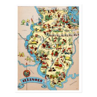 Cartão Postal Mapa engraçado do vintage de Illinois