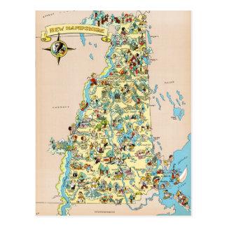 Cartão Postal Mapa engraçado do vintage de New Hampshire
