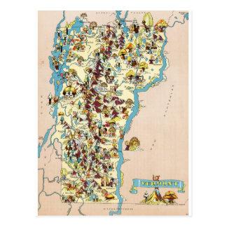 Cartão Postal Mapa engraçado do vintage de Vermont