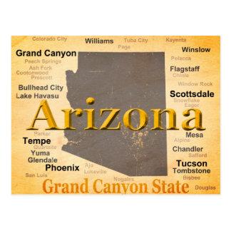 Cartão Postal Mapa envelhecido arizona