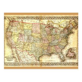 Cartão Postal Mapa geral dos EUA dos Estados Unidos idosos do