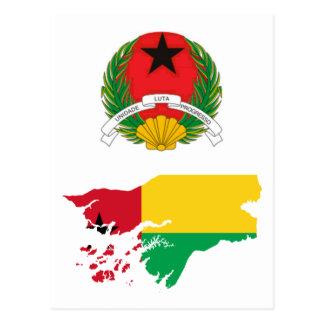 Cartão Postal Mapa GW da bandeira de Guiné-Bissau