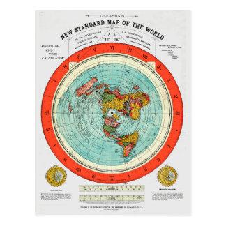 Cartão Postal Mapa padrão novo da terra lisa Earther do mundo