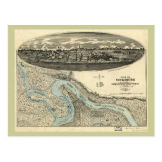 Cartão Postal Mapa panorâmico antigo de Vicksburg Mississippi