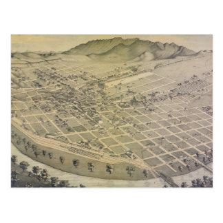 Cartão Postal Mapa pictórico do vintage de El Paso Texas (1886)