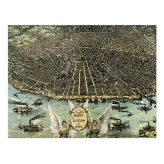 Cartão Postal Mapa pictórico do vintage de St Louis (1896)
