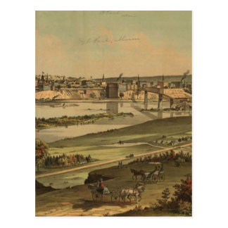 Cartão Postal Mapa pictórico do vintage de St Paul Minnesota