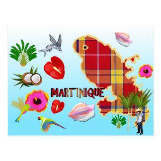 Cartão Postal Mapa postal da Martinica
