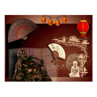 Cartão Postal mapa postal japonês Buda zen