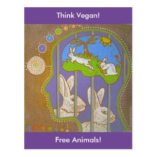 Cartão Postal Mapa postal vegan rabbit liberação