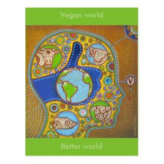 Cartão Postal Mapa postal vegan world
