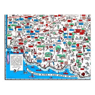 Cartão Postal Mapa retro de Cincinnati Dayton Hamilton