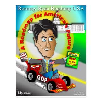Cartão Postal Mapa rodoviário de Romney Ryan