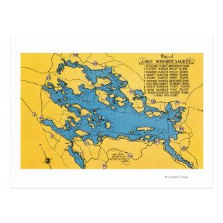 Cartão Postal Mapa rodoviário do lago e das estradas