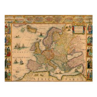 Cartão Postal Mapa velho de Europa