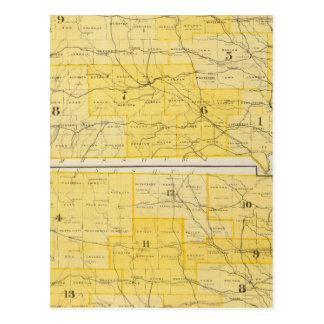 Cartão Postal Mapas do estado de Iowa