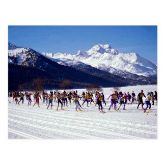 Cartão Postal Maratona do esqui de Engadin, Silvaplana, suiça