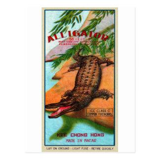 Cartão Postal Marca retro do jacaré do foguete do kitsch do