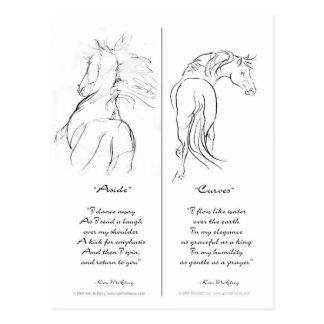 """Cartão Postal Marcador do cavalo """"de lado"""" & das """"curvas"""""""