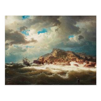 Cartão Postal Marcus Larson - navio pela costa