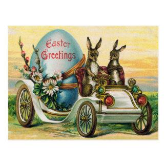 Cartão Postal Margarida do carro do ovo do coelhinho da Páscoa