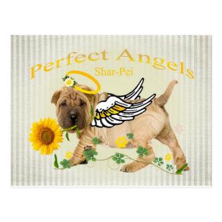 Cartão Postal Margarida perfeita de w do anjo de Shar-pei do