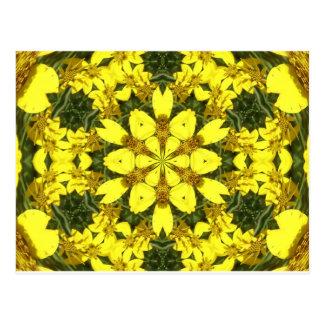 Cartão Postal margaridas abstratas florais amarelas do design