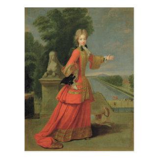 Cartão Postal Marie-Adelaide de Sabóia no vestido da caça