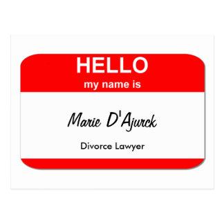 Cartão Postal Marie D'Ajurck, advogado de divórcio