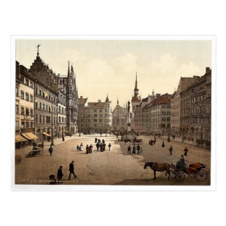 Cartão Postal Marienplatz, Munich, Baviera, Alemanha magnífica