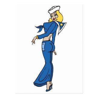 Cartão Postal Marinheiro da mulher do tatuagem do vintage