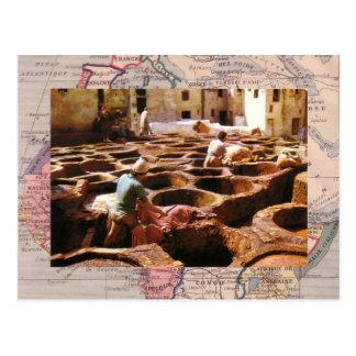 Cartão Postal Marrocos, Tannerie no ar livre