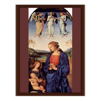 Cartão Postal Mary adorador a criança com o arcanjo Gabriel