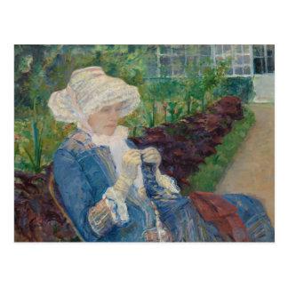 Cartão Postal Mary Cassat- Lydia que Crocheting no jardim