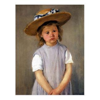 """Cartão Postal Mary Cassatt """"criança em um chapéu de palha """""""