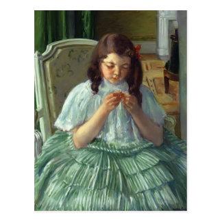 Cartão Postal Mary Cassatt- Françoise no verde, Sewing