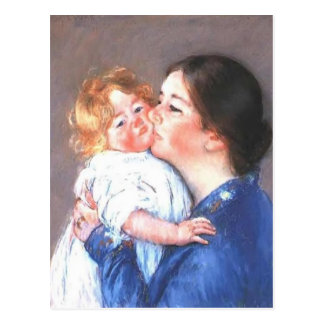 Cartão Postal Mary Cassatt: Um beijo para o bebê Anne (no.2)