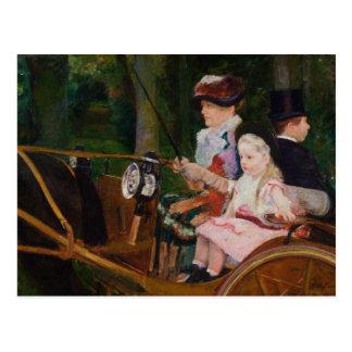 Cartão Postal Mary Cassatt - uma mulher e uma condução da menina