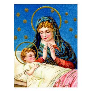 Cartão Postal Mary e um bebê de sono Jesus