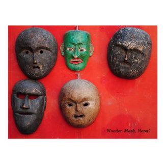 Cartão Postal Máscara de madeira do Nepali