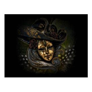 Cartão Postal Máscara do carnaval do ouro com chapéu e as penas